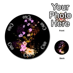 Awesome Flowers With Fire And Flame Playing Cards 54 (Round)