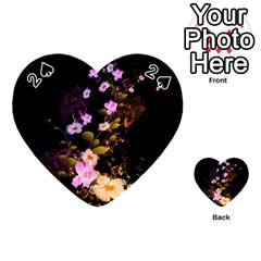 Awesome Flowers With Fire And Flame Playing Cards 54 (heart)