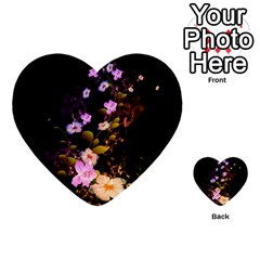 Awesome Flowers With Fire And Flame Multi-purpose Cards (Heart)