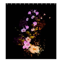 Awesome Flowers With Fire And Flame Shower Curtain 66  X 72  (large)