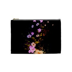 Awesome Flowers With Fire And Flame Cosmetic Bag (Medium)