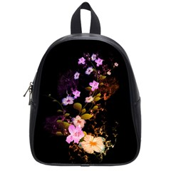 Awesome Flowers With Fire And Flame School Bags (Small)