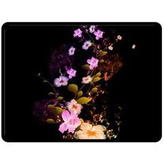 Awesome Flowers With Fire And Flame Fleece Blanket (Large)