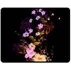 Awesome Flowers With Fire And Flame Fleece Blanket (medium)