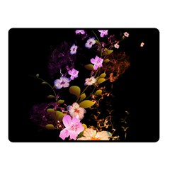 Awesome Flowers With Fire And Flame Fleece Blanket (small)