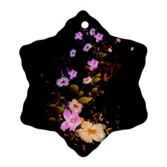 Awesome Flowers With Fire And Flame Snowflake Ornament (2-Side)