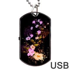 Awesome Flowers With Fire And Flame Dog Tag Usb Flash (two Sides)