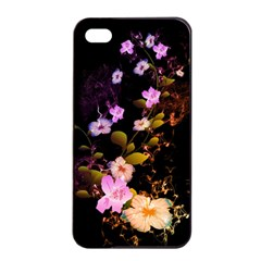 Awesome Flowers With Fire And Flame Apple Iphone 4/4s Seamless Case (black)