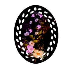 Awesome Flowers With Fire And Flame Oval Filigree Ornament (2 Side)