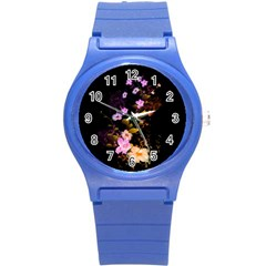 Awesome Flowers With Fire And Flame Round Plastic Sport Watch (S)