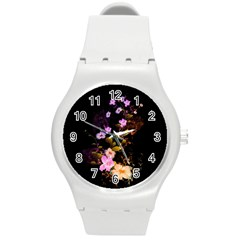Awesome Flowers With Fire And Flame Round Plastic Sport Watch (M)