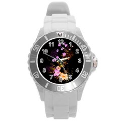 Awesome Flowers With Fire And Flame Round Plastic Sport Watch (L)