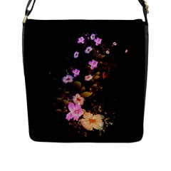 Awesome Flowers With Fire And Flame Flap Messenger Bag (L)