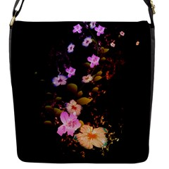 Awesome Flowers With Fire And Flame Flap Messenger Bag (S)