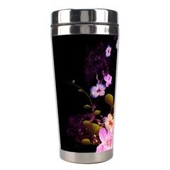 Awesome Flowers With Fire And Flame Stainless Steel Travel Tumblers
