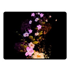 Awesome Flowers With Fire And Flame Double Sided Fleece Blanket (Small)