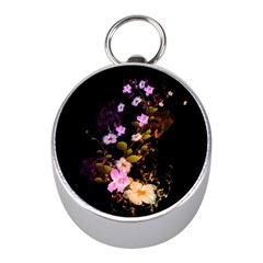 Awesome Flowers With Fire And Flame Mini Silver Compasses