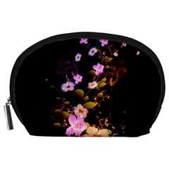 Awesome Flowers With Fire And Flame Accessory Pouches (Large)
