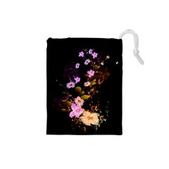 Awesome Flowers With Fire And Flame Drawstring Pouches (Small)