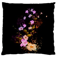 Awesome Flowers With Fire And Flame Large Flano Cushion Cases (Two Sides)