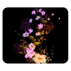 Awesome Flowers With Fire And Flame Double Sided Flano Blanket (Small)