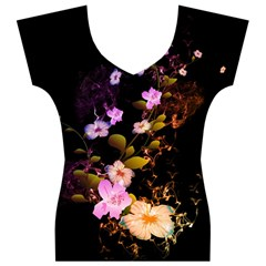 Awesome Flowers With Fire And Flame Women s V-Neck Cap Sleeve Top