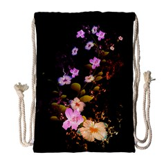 Awesome Flowers With Fire And Flame Drawstring Bag (large)