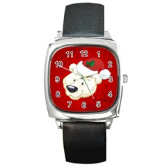 Funny Polar Bear Square Metal Watches