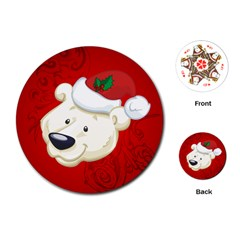 Funny Polar Bear Playing Cards (Round)