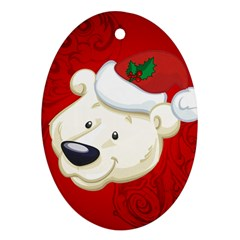 Funny Polar Bear Oval Ornament (Two Sides)
