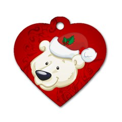 Funny Polar Bear Dog Tag Heart (one Side)