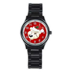 Funny Polar Bear Stainless Steel Round Watches