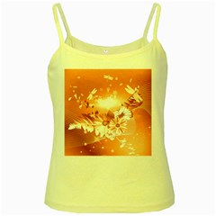 Amazing Flowers With Dragonflies Yellow Spaghetti Tanks