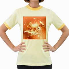 Amazing Flowers With Dragonflies Women s Fitted Ringer T Shirts