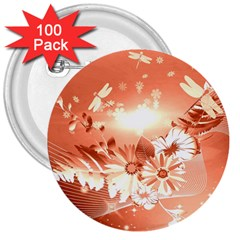 Amazing Flowers With Dragonflies 3  Buttons (100 pack)
