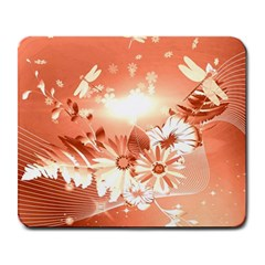 Amazing Flowers With Dragonflies Large Mousepads