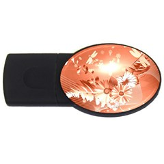 Amazing Flowers With Dragonflies USB Flash Drive Oval (1 GB)