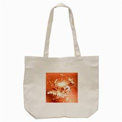 Amazing Flowers With Dragonflies Tote Bag (Cream)