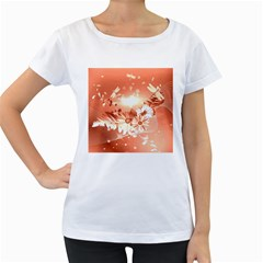 Amazing Flowers With Dragonflies Women s Loose-Fit T-Shirt (White)