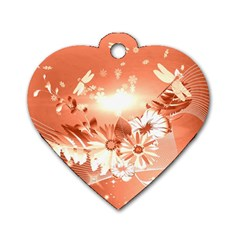 Amazing Flowers With Dragonflies Dog Tag Heart (One Side)