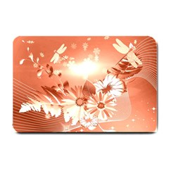 Amazing Flowers With Dragonflies Small Doormat