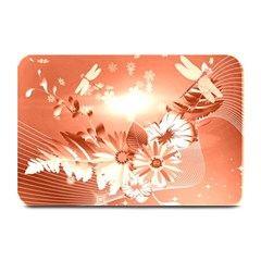 Amazing Flowers With Dragonflies Plate Mats