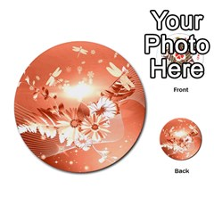 Amazing Flowers With Dragonflies Multi Purpose Cards (round)