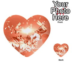 Amazing Flowers With Dragonflies Multi-purpose Cards (Heart)