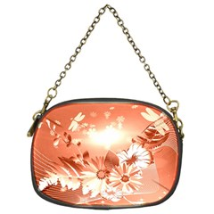 Amazing Flowers With Dragonflies Chain Purses (one Side)