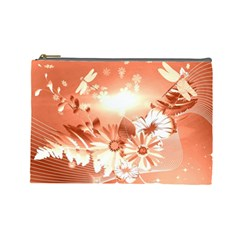 Amazing Flowers With Dragonflies Cosmetic Bag (Large)