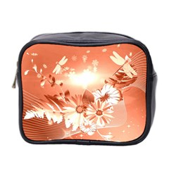 Amazing Flowers With Dragonflies Mini Toiletries Bag 2-Side