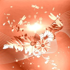 Amazing Flowers With Dragonflies Magic Photo Cubes