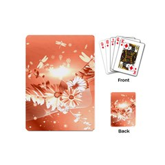 Amazing Flowers With Dragonflies Playing Cards (Mini)