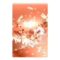 Amazing Flowers With Dragonflies Shower Curtain 48  x 72  (Small)